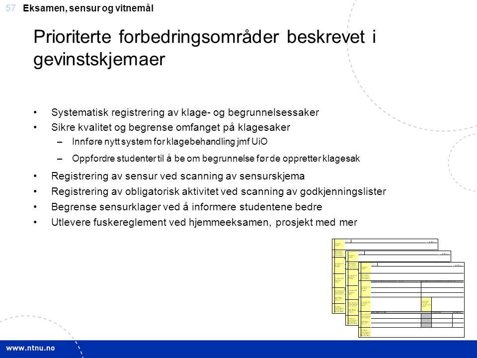 57 Prioriterte forbedringsområder beskrevet i gevinstskjemaer Systematisk registrering av klage- og begrunnelsessaker Sikre kvalitet og begrense omfan