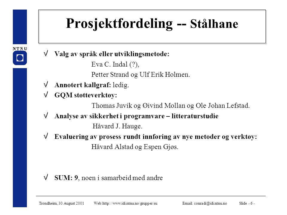 Trondheim, 30 August 2001 Web:http://www.idi.ntnu.no/grupper/su Email: conradi@idi.ntnu.no Slide - 6 - Prosjektfordeling -- Stålhane  Valg av språk eller utviklingsmetode: Eva C.