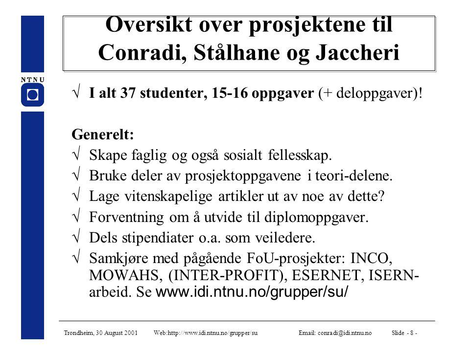 Trondheim, 30 August 2001 Web:http://www.idi.ntnu.no/grupper/su Email: conradi@idi.ntnu.no Slide - 8 - Oversikt over prosjektene til Conradi, Stålhane og Jaccheri  I alt 37 studenter, 15-16 oppgaver (+ deloppgaver).