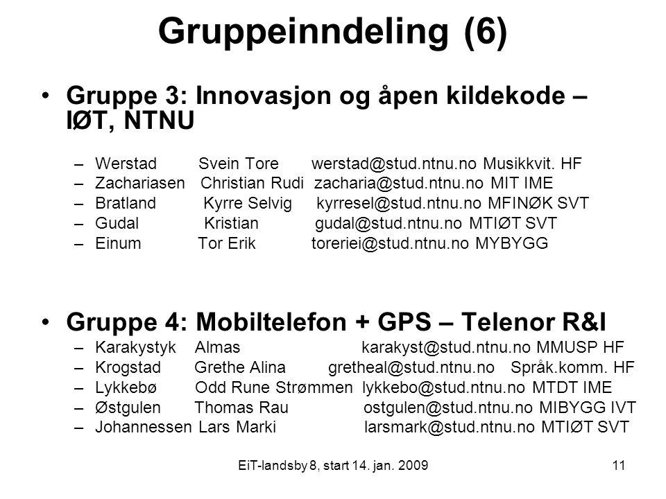 EiT-landsby 8, start 14. jan. 200911 Gruppeinndeling (6) Gruppe 3: Innovasjon og åpen kildekode – IØT, NTNU –Werstad Svein Tore werstad@stud.ntnu.no M
