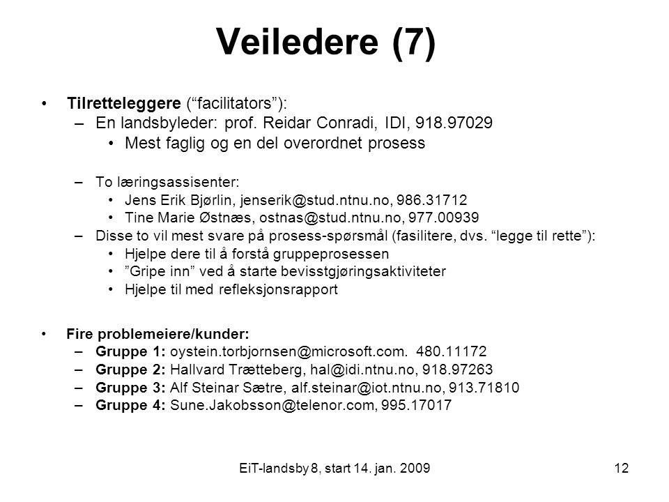 """EiT-landsby 8, start 14. jan. 200912 Veiledere (7) Tilretteleggere (""""facilitators""""): –En landsbyleder: prof. Reidar Conradi, IDI, 918.97029 Mest fagli"""