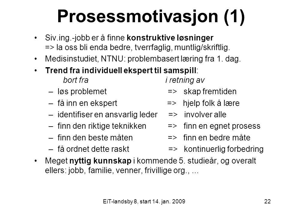 EiT-landsby 8, start 14. jan. 200922 Prosessmotivasjon (1) Siv.ing.-jobb er å finne konstruktive løsninger => la oss bli enda bedre, tverrfaglig, munt