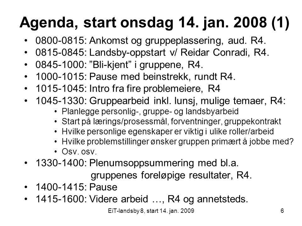 EiT-landsby 8, start 14. jan. 20096 Agenda, start onsdag 14. jan. 2008 (1) 0800-0815: Ankomst og gruppeplassering, aud. R4. 0815-0845: Landsby-oppstar