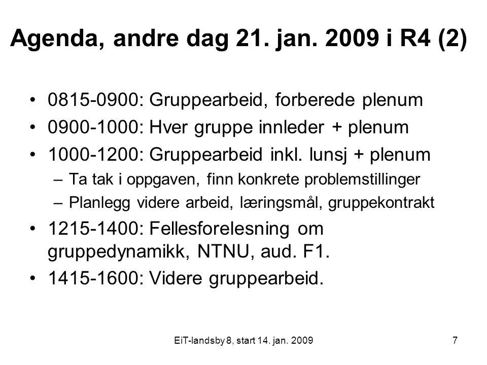 EiT-landsby 8, start 14. jan. 20097 Agenda, andre dag 21. jan. 2009 i R4 (2) 0815-0900: Gruppearbeid, forberede plenum 0900-1000: Hver gruppe innleder