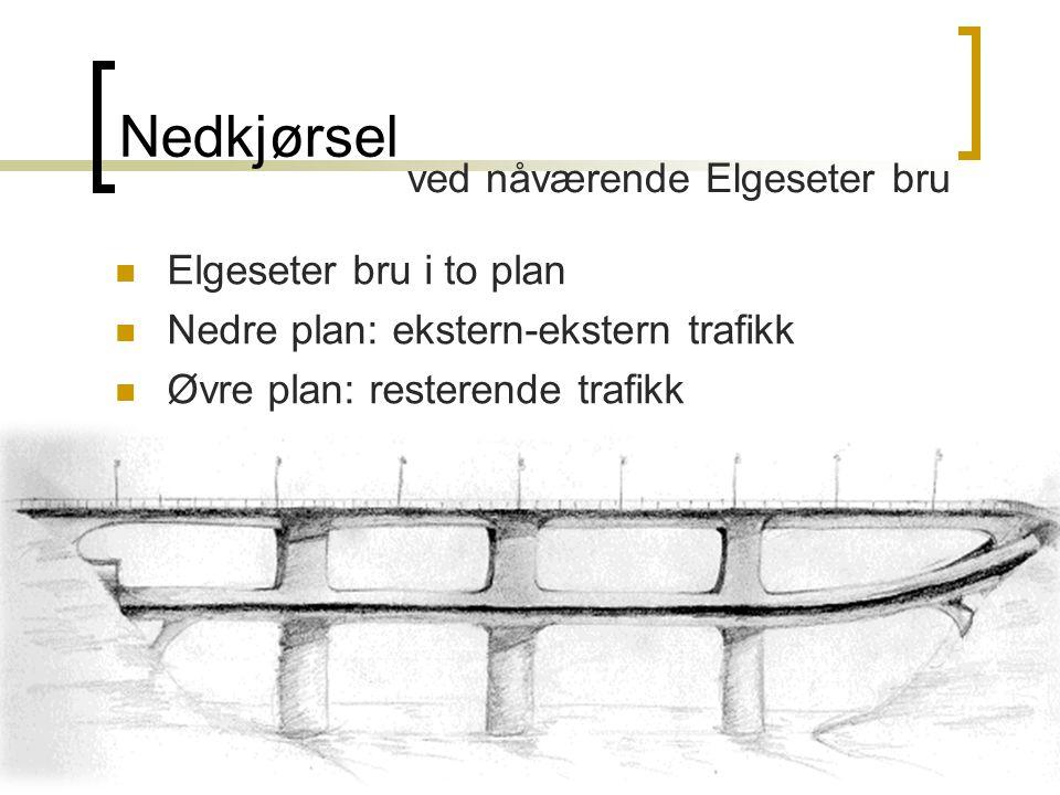 Nedkjørsel Elgeseter bru i to plan Nedre plan: ekstern-ekstern trafikk Øvre plan: resterende trafikk ved nåværende Elgeseter bru