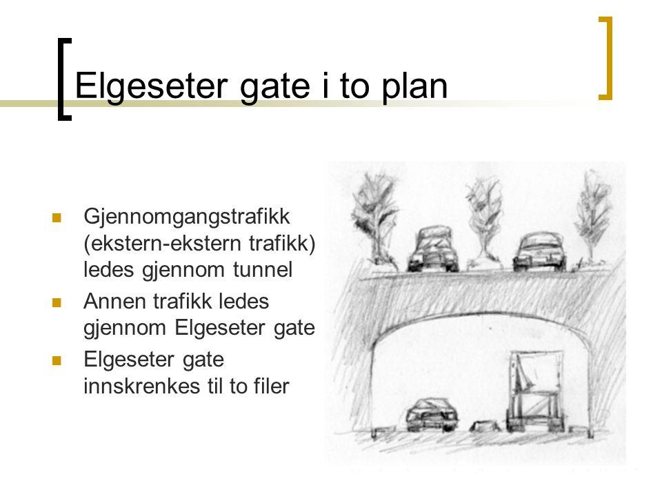 Elgeseter gate i to plan Gjennomgangstrafikk (ekstern-ekstern trafikk) ledes gjennom tunnel Annen trafikk ledes gjennom Elgeseter gate Elgeseter gate innskrenkes til to filer