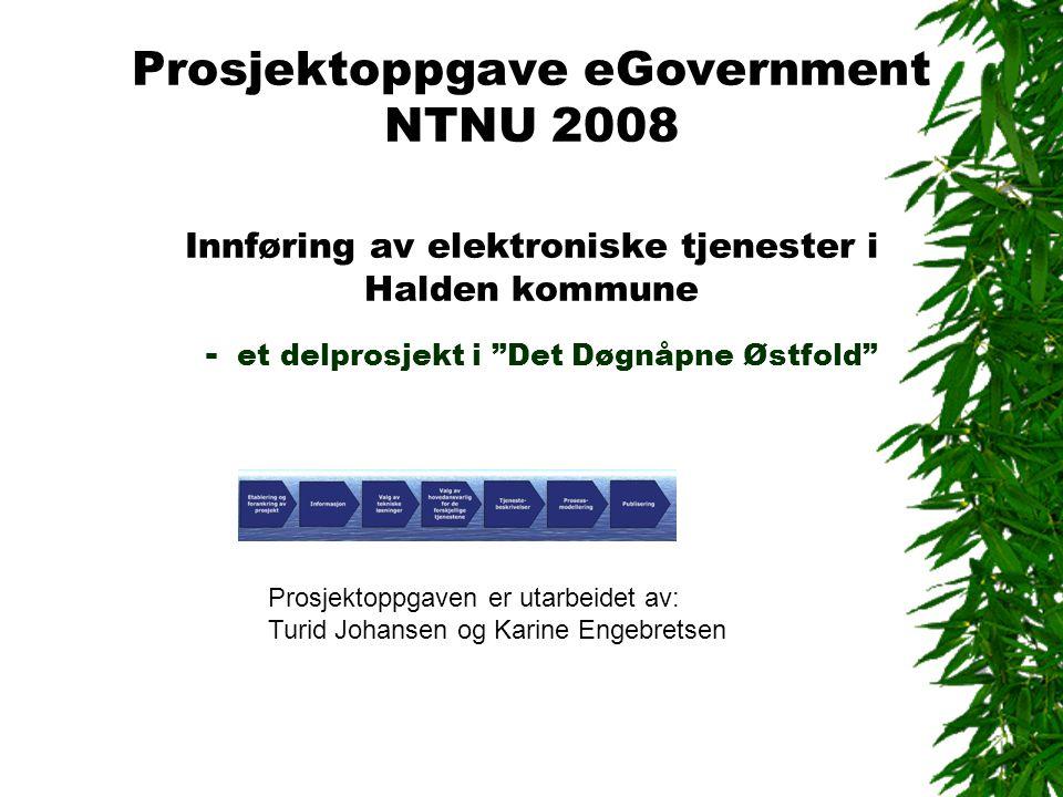Prosjektoppgave eGovernment NTNU 2008 Innføring av elektroniske tjenester i Halden kommune - et delprosjekt i Det Døgnåpne Østfold Prosjektoppgaven er utarbeidet av: Turid Johansen og Karine Engebretsen