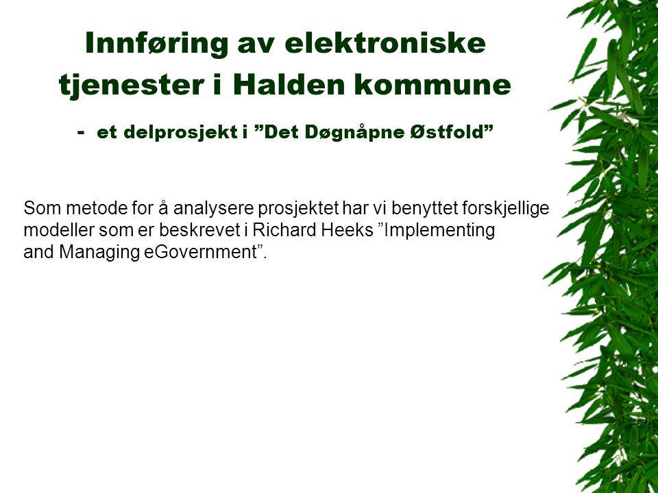 Innføring av elektroniske tjenester i Halden kommune - et delprosjekt i Det Døgnåpne Østfold Som metode for å analysere prosjektet har vi benyttet forskjellige modeller som er beskrevet i Richard Heeks Implementing and Managing eGovernment .