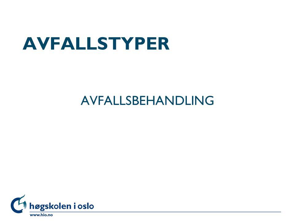 Høgskolen i Oslo AVFALLSTYPER AVFALLSBEHANDLING