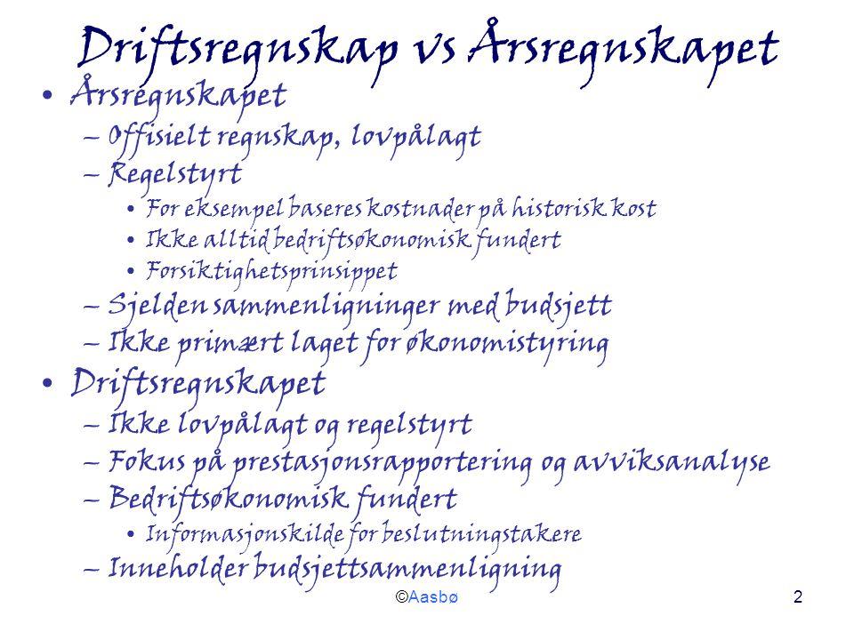 ©Aasbø2 Driftsregnskap vs Årsregnskapet Årsregnskapet –Offisielt regnskap, lovpålagt –Regelstyrt For eksempel baseres kostnader på historisk kost Ikke