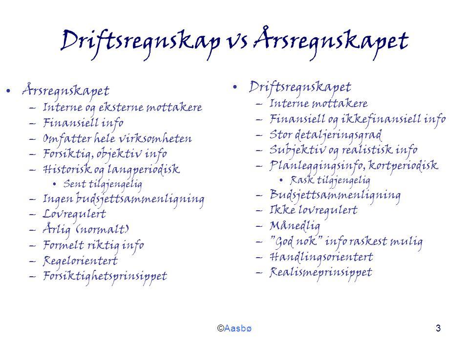 ©Aasbø3 Driftsregnskap vs Årsregnskapet Årsregnskapet –Interne og eksterne mottakere –Finansiell info –Omfatter hele virksomheten –Forsiktig, objektiv