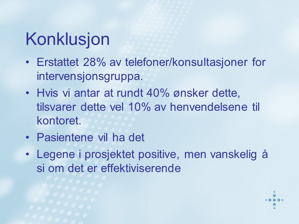 Konklusjon Erstattet 28% av telefoner/konsultasjoner for intervensjonsgruppa.