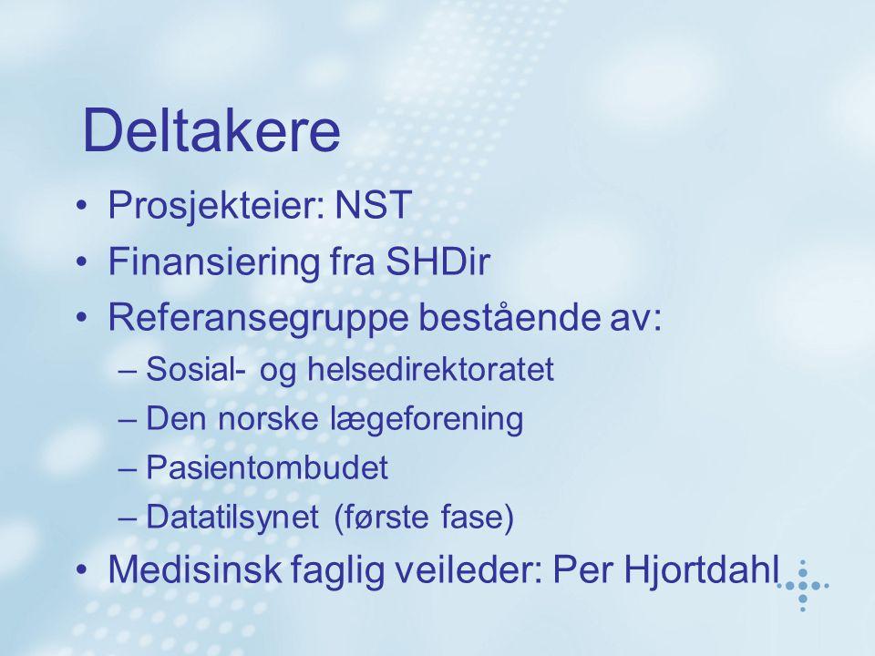 Deltakere Prosjekteier: NST Finansiering fra SHDir Referansegruppe bestående av: –Sosial- og helsedirektoratet –Den norske lægeforening –Pasientombudet –Datatilsynet (første fase) Medisinsk faglig veileder: Per Hjortdahl