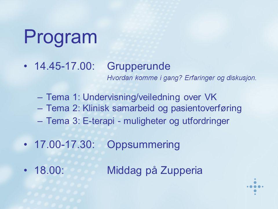 Program 14.45-17.00:Grupperunde Hvordan komme i gang.