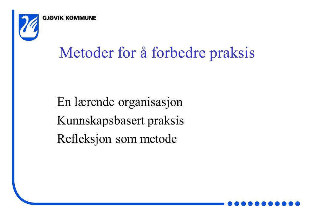 Metoder for å forbedre praksis En lærende organisasjon Kunnskapsbasert praksis Refleksjon som metode