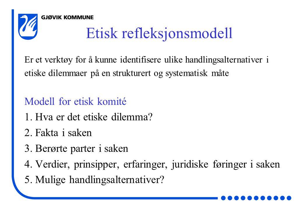 Etisk refleksjonsmodell Er et verktøy for å kunne identifisere ulike handlingsalternativer i etiske dilemmaer på en strukturert og systematisk måte Modell for etisk komité 1.