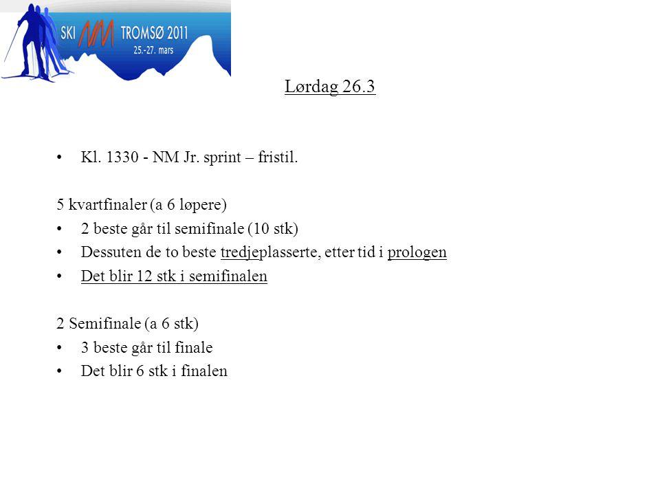 Lørdag 26.3 Kl.1330 - NM Jr. sprint – fristil.