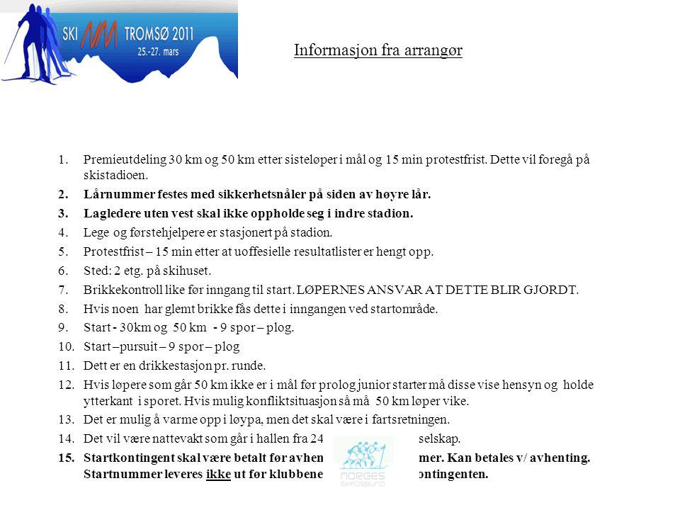 Informasjon fra arrangør 1.Premieutdeling 30 km og 50 km etter sisteløper i mål og 15 min protestfrist.