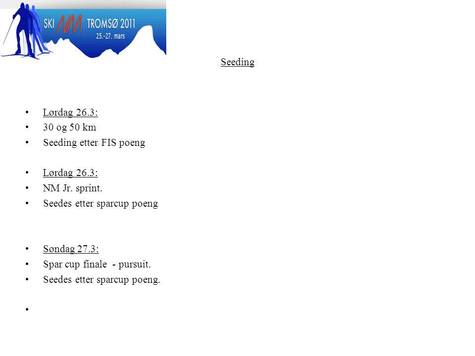 Seeding Lørdag 26.3: 30 og 50 km Seeding etter FIS poeng Lørdag 26.3: NM Jr.