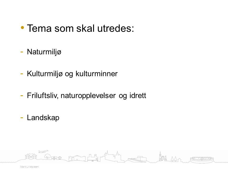 Tema som skal utredes: - Naturmiljø - Kulturmiljø og kulturminner - Friluftsliv, naturopplevelser og idrett - Landskap Marit Lillesveen