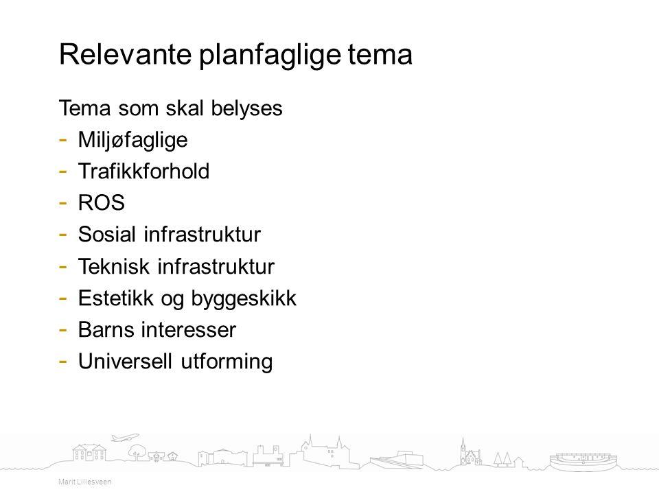 Tema som skal belyses - Miljøfaglige - Trafikkforhold - ROS - Sosial infrastruktur - Teknisk infrastruktur - Estetikk og byggeskikk - Barns interesser