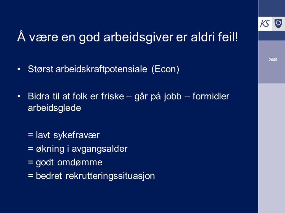 2009 Å være en god arbeidsgiver er aldri feil! Størst arbeidskraftpotensiale (Econ) Bidra til at folk er friske – går på jobb – formidler arbeidsglede