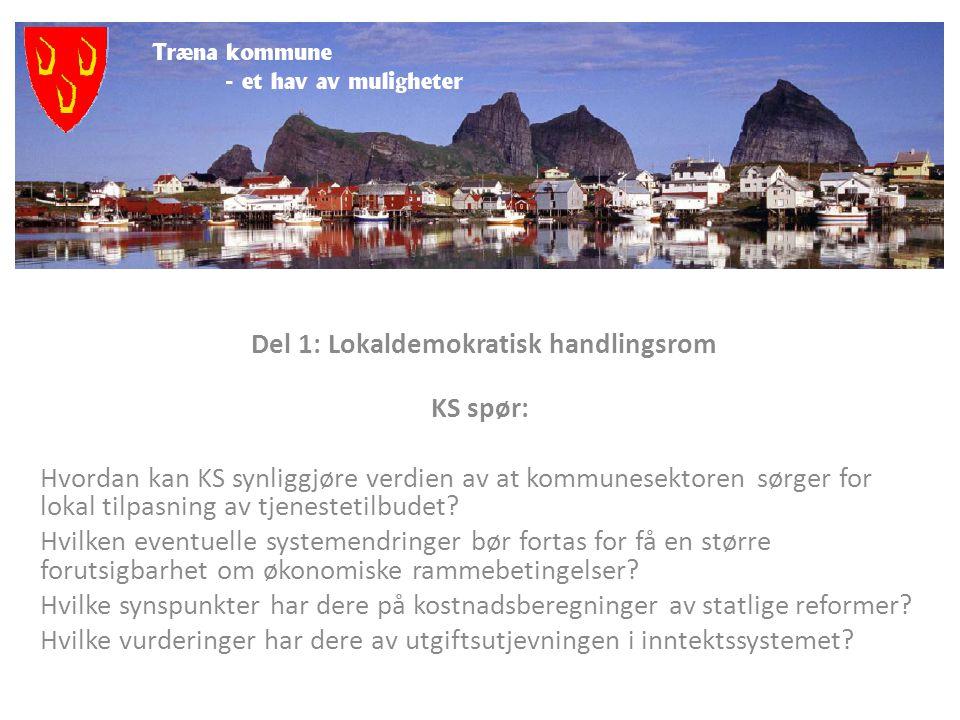 Del 1: Lokaldemokratisk handlingsrom KS spør: Hvordan kan KS synliggjøre verdien av at kommunesektoren sørger for lokal tilpasning av tjenestetilbudet