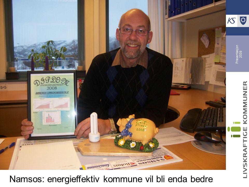 Presentasjon 2009 Namsos gir oppmerksomhet til enøk-innsatsen Konkurranse, belønning og holdninger Energisparegrisen + 1.000 kr til beste resultat Høknes u.skole vant i 2008 med 8 % reduksjon Enøk-utvalg i administrasjonen holder fokus oppe