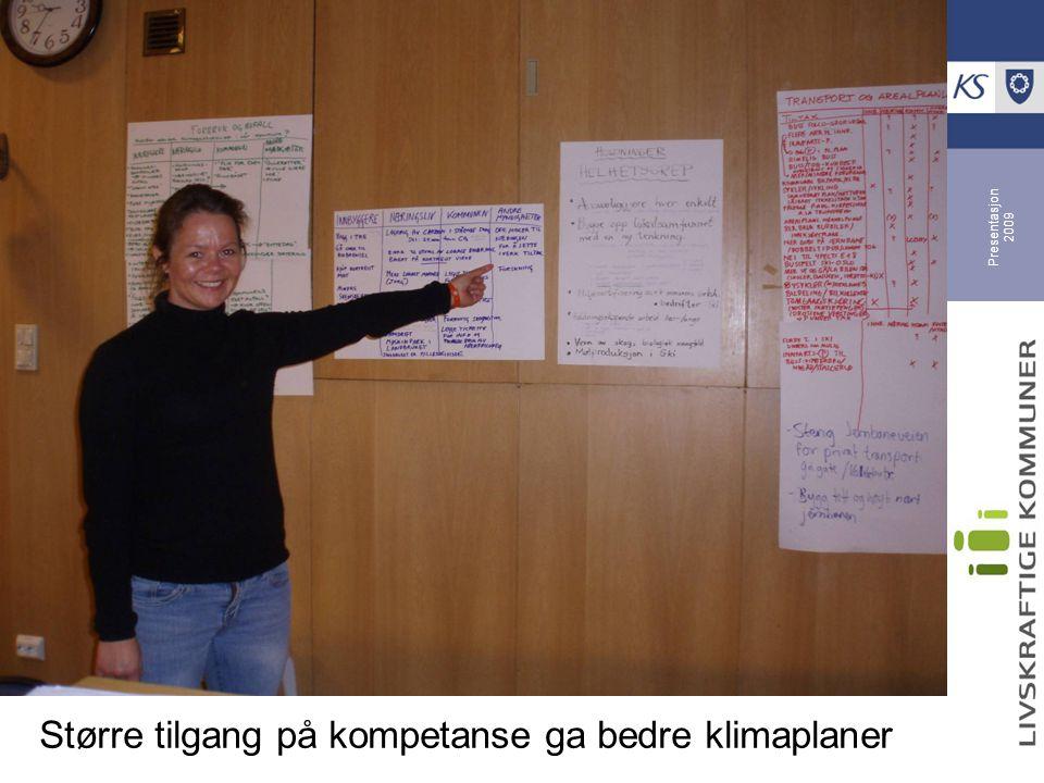 Presentasjon 2009 Fire prioriterte felles satsninger Klimadugnad med befolkningen Energieffektiv drift av kommunale bygg Grønn transport i Lofoten Bærekraftig matproduksjon Suksessfaktor: felles innsats i nettverk, der de små får drahjelp av en større kommune