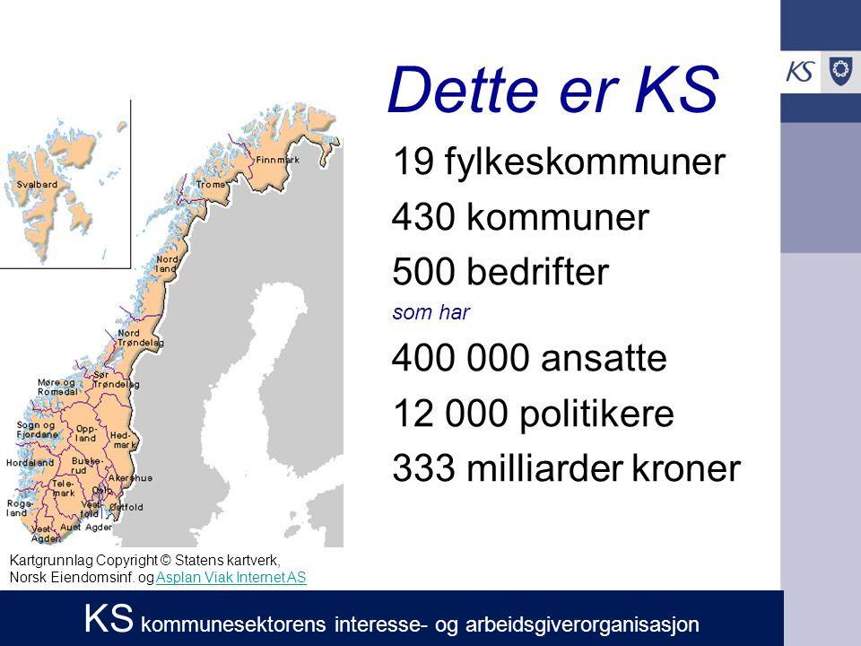 Dette er KS 19 fylkeskommuner 430 kommuner 500 bedrifter som har 400 000 ansatte 12 000 politikere 333 milliarder kroner Kartgrunnlag Copyright © Statens kartverk, Norsk Eiendomsinf.