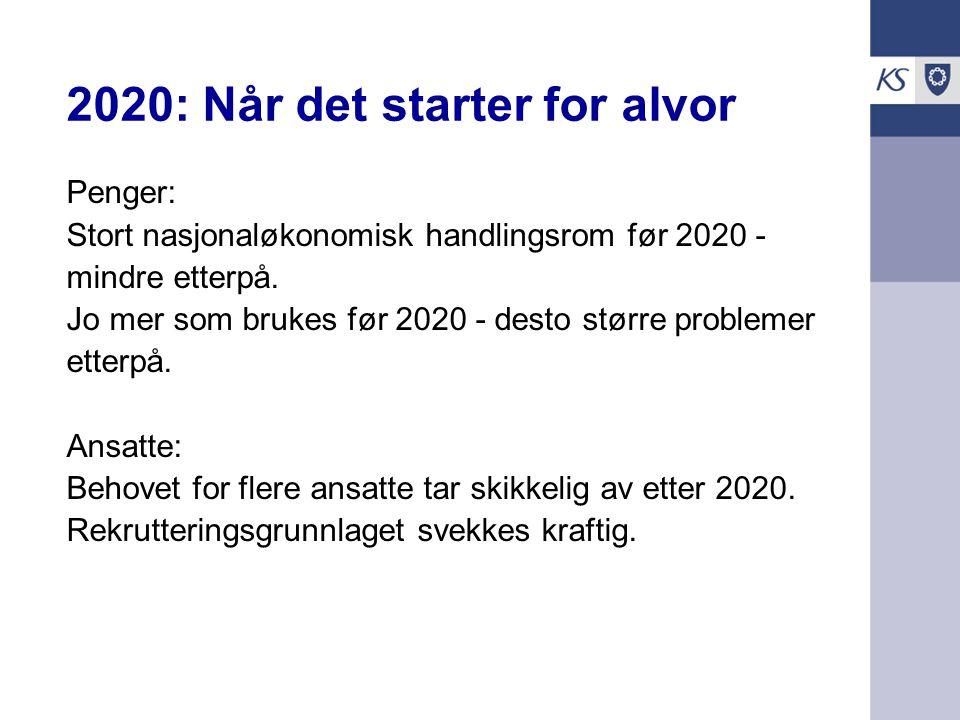 Utfordringene er En ressursbruk i verdenstoppen Behovene vil øke Ressursene vil avta Handlingsrommet har vi nå – ikke senere Sektoren kan ikke regne med at økte inntekter vil løse alle de utfordringene den allerede står overfor. Kommunene og norsk økonomi nr 2/2009