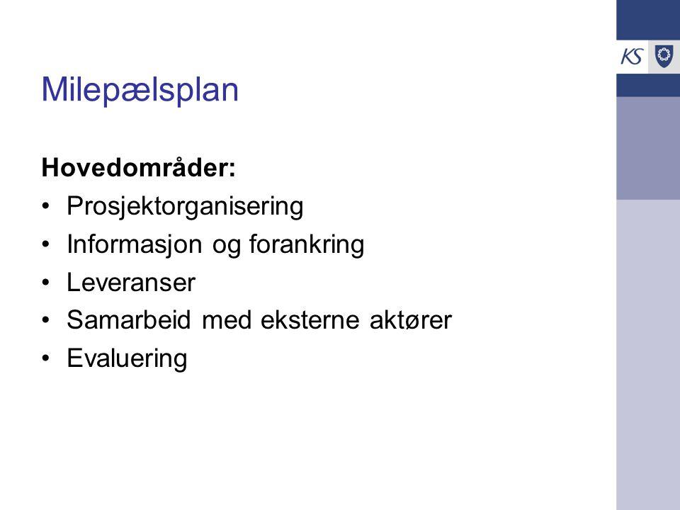 Milepælsplan Hovedområder: Prosjektorganisering Informasjon og forankring Leveranser Samarbeid med eksterne aktører Evaluering