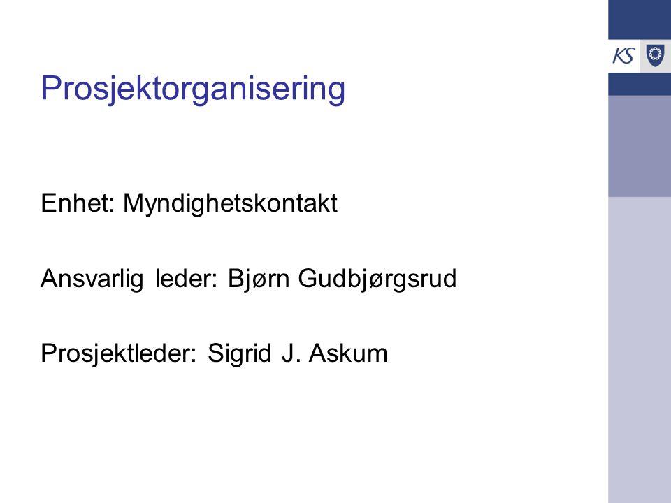 Prosjektorganisering Enhet: Myndighetskontakt Ansvarlig leder: Bjørn Gudbjørgsrud Prosjektleder: Sigrid J.