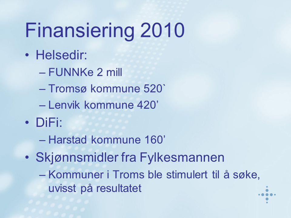Finansiering 2010 Helsedir: –FUNNKe 2 mill –Tromsø kommune 520` –Lenvik kommune 420' DiFi: –Harstad kommune 160' Skjønnsmidler fra Fylkesmannen –Kommuner i Troms ble stimulert til å søke, uvisst på resultatet