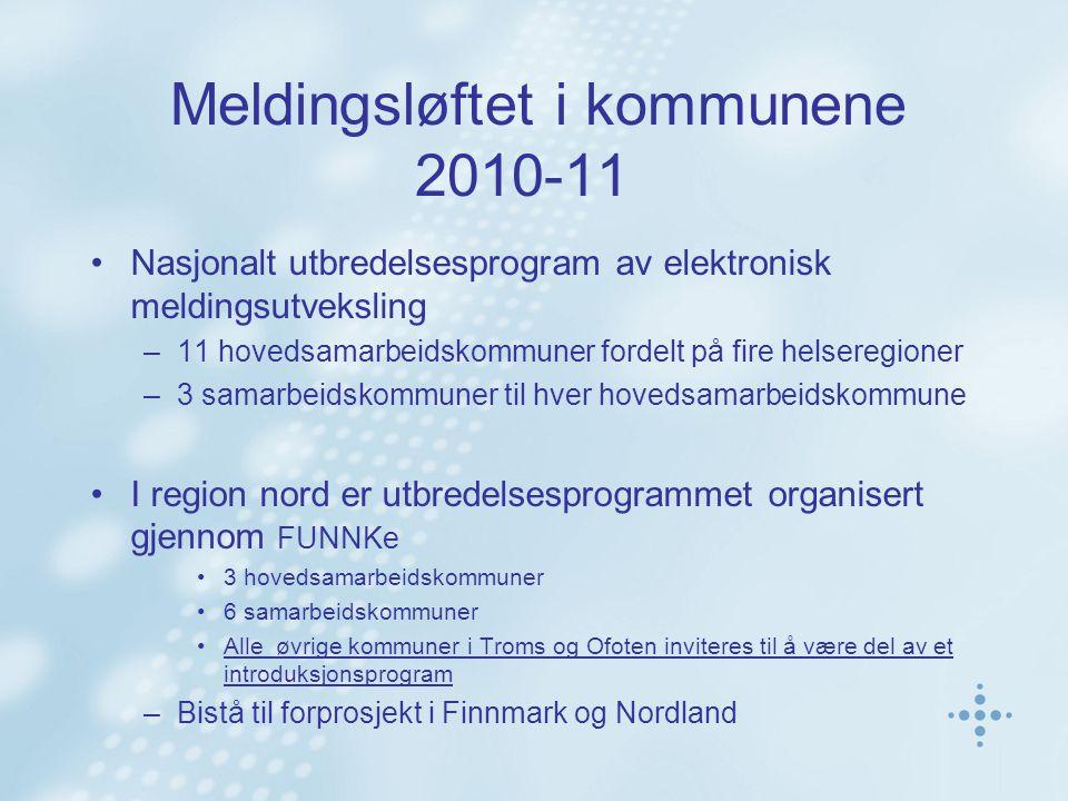 Meldingsløftet i kommunene 2010-11 Nasjonalt utbredelsesprogram av elektronisk meldingsutveksling –11 hovedsamarbeidskommuner fordelt på fire helseregioner –3 samarbeidskommuner til hver hovedsamarbeidskommune I region nord er utbredelsesprogrammet organisert gjennom FUNNKe 3 hovedsamarbeidskommuner 6 samarbeidskommuner Alle øvrige kommuner i Troms og Ofoten inviteres til å være del av et introduksjonsprogram –Bistå til forprosjekt i Finnmark og Nordland