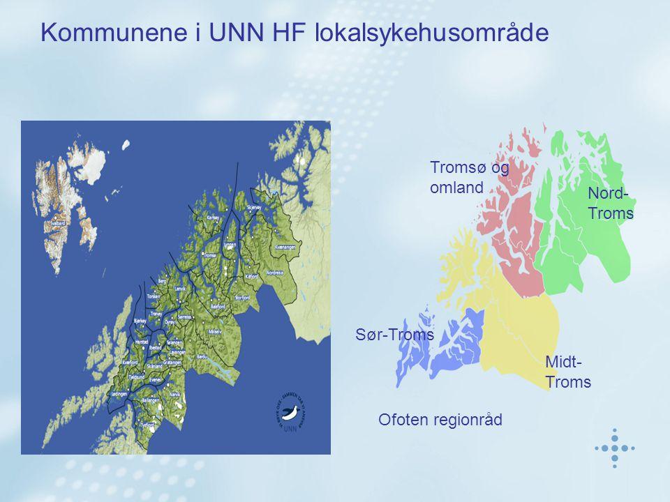 Kommunene i UNN HF lokalsykehusområde Ofoten regionråd Sør-Troms Midt- Troms Nord- Troms Tromsø og omland