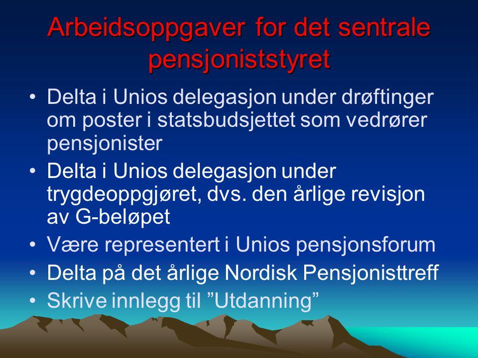 Arbeidsoppgaver for det sentrale pensjoniststyret Delta i Unios delegasjon under drøftinger om poster i statsbudsjettet som vedrører pensjonister Delt