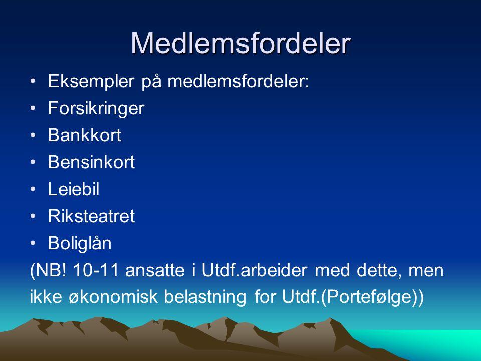Medlemsfordeler Eksempler på medlemsfordeler: Forsikringer Bankkort Bensinkort Leiebil Riksteatret Boliglån (NB! 10-11 ansatte i Utdf.arbeider med det