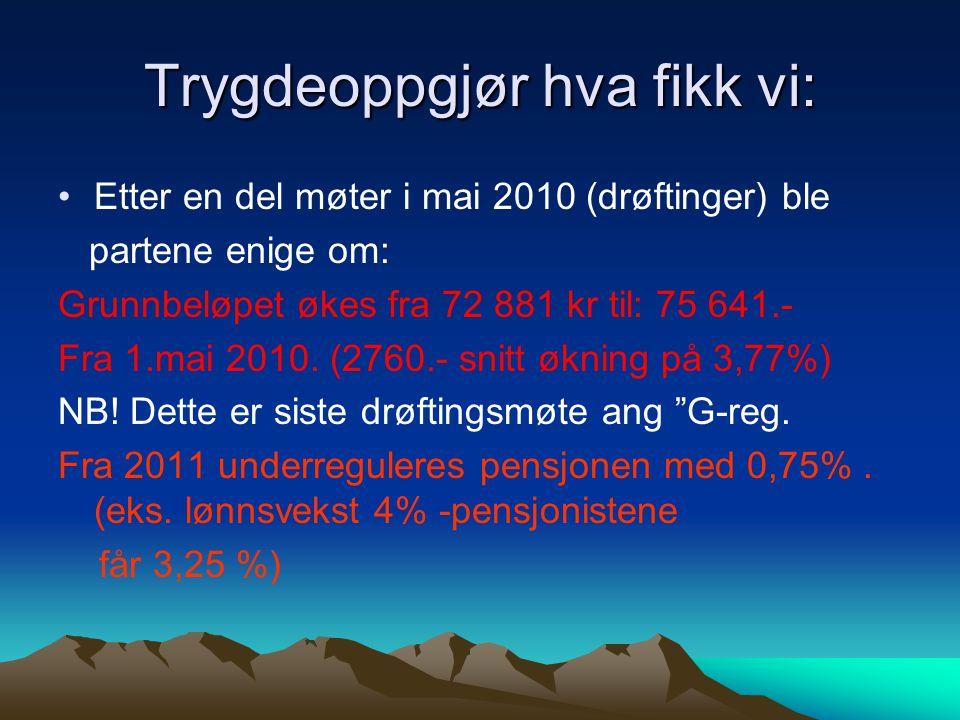 Trygdeoppgjør hva fikk vi: Etter en del møter i mai 2010 (drøftinger) ble partene enige om: Grunnbeløpet økes fra 72 881 kr til: 75 641.- Fra 1.mai 20