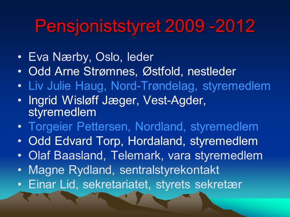 Pensjoniststyret 2009 -2012 Eva Nærby, Oslo, leder Odd Arne Strømnes, Østfold, nestleder Liv Julie Haug, Nord-Trøndelag, styremedlem Ingrid Wisløff Jæ