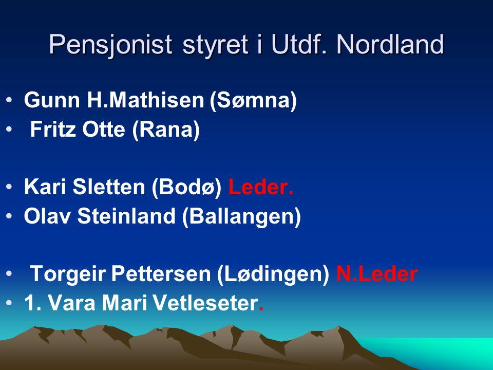 Pensjonist styret i Utdf. Nordland Gunn H.Mathisen (Sømna) Fritz Otte (Rana) Kari Sletten (Bodø) Leder. Olav Steinland (Ballangen) Torgeir Pettersen (