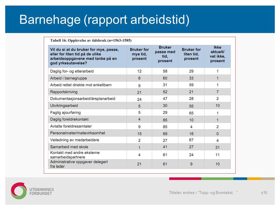 Barnehage (rapport arbeidstid) Tittelen endres i Topp- og Bunntekst... s16