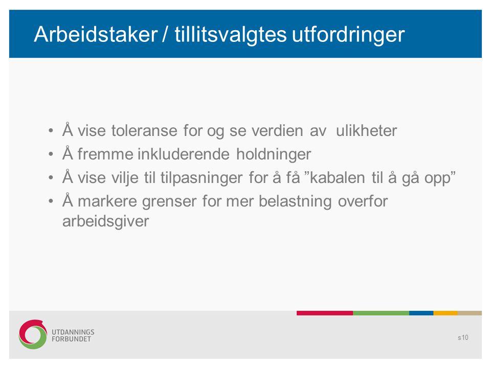 Arbeidstaker / tillitsvalgtes utfordringer Å vise toleranse for og se verdien av ulikheter Å fremme inkluderende holdninger Å vise vilje til tilpasnin