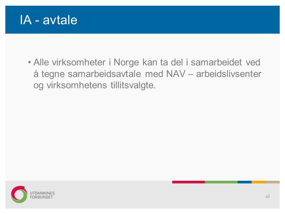 IA - avtale Alle virksomheter i Norge kan ta del i samarbeidet ved å tegne samarbeidsavtale med NAV – arbeidslivsenter og virksomhetens tillitsvalgte.