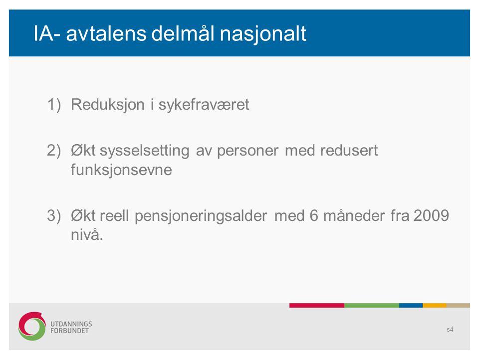 IA- avtalens delmål nasjonalt 1)Reduksjon i sykefraværet 2)Økt sysselsetting av personer med redusert funksjonsevne 3)Økt reell pensjoneringsalder med