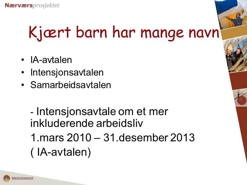 2 Kjært barn har mange navn IA-avtalen Intensjonsavtalen Samarbeidsavtalen - Intensjonsavtale om et mer inkluderende arbeidsliv 1.mars 2010 – 31.desem