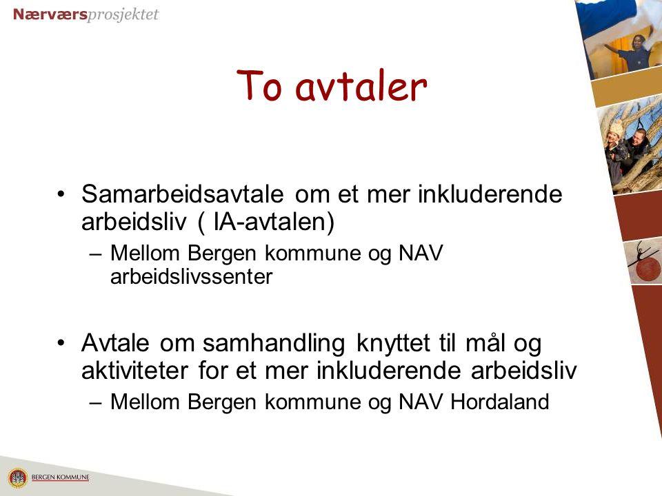 21 To avtaler Samarbeidsavtale om et mer inkluderende arbeidsliv ( IA-avtalen) –Mellom Bergen kommune og NAV arbeidslivssenter Avtale om samhandling k