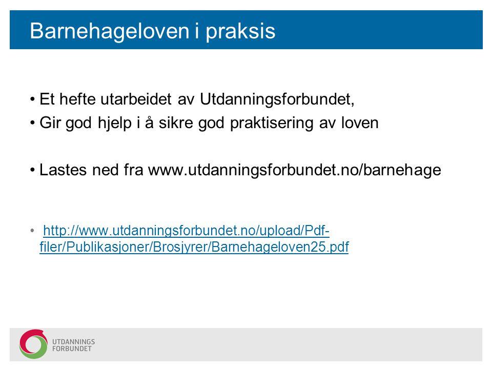 Barnehageloven i praksis Et hefte utarbeidet av Utdanningsforbundet, Gir god hjelp i å sikre god praktisering av loven Lastes ned fra www.utdanningsforbundet.no/barnehage http://www.utdanningsforbundet.no/upload/Pdf- filer/Publikasjoner/Brosjyrer/Barnehageloven25.pdfhttp://www.utdanningsforbundet.no/upload/Pdf- filer/Publikasjoner/Brosjyrer/Barnehageloven25.pdf
