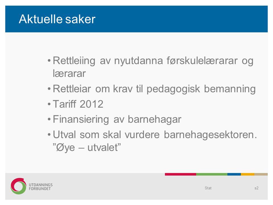 Rettleiing av nyutdanna førskulelærarar og lærarar Rettleiar om krav til pedagogisk bemanning Tariff 2012 Finansiering av barnehagar Utval som skal vurdere barnehagesektoren.