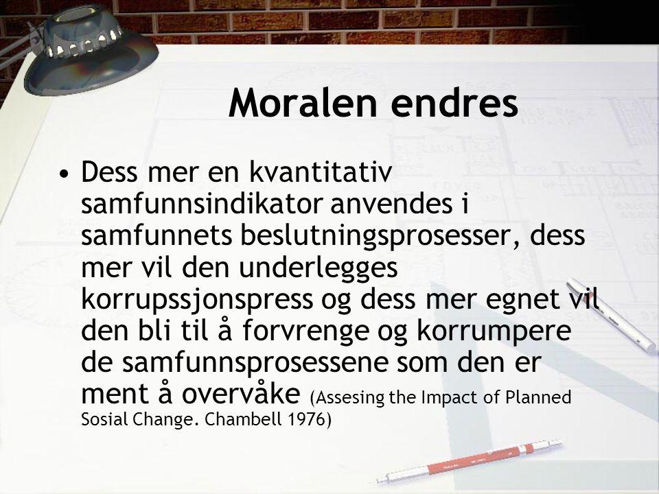 Moralen endres Dess mer en kvantitativ samfunnsindikator anvendes i samfunnets beslutningsprosesser, dess mer vil den underlegges korrupssjonspress og